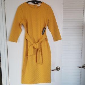 NY&Co NWT M Gold 7th Avenue Tie-Front Sheath Dress